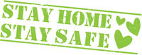 grungy STAY HOME, STAY SAFE stamp or label