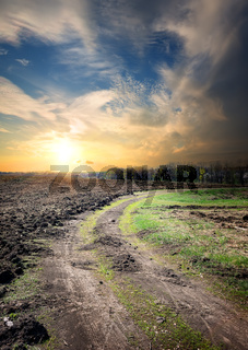 Country road through the plowed field