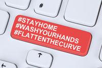 Stay home hashtag stayhome flatten the curve Corona virus coronavirus healthy health computer keyboard