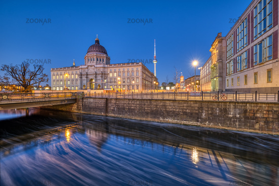 The reconstructed Berlin Palace with the Television Tower at the blue hour