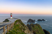 the Cabo Ortegal lighthouse on the coast of Galicia at sunset