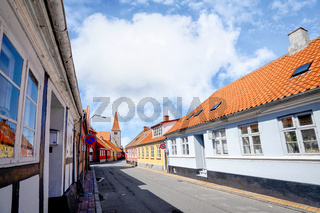 Danish village in the summer with red rooftops