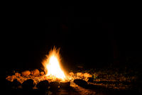 Flames of a campfire in deep darkness surrounded by stones shaping strong shadows. Space for inserting text