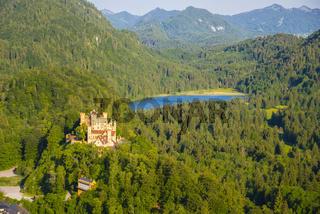 Schloss Hohenschwangau, Schwansee, Schwangau, Ostallgäu, Allgäu, Schwaben, Bayern, Deutschland, Europa