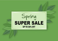 Spring Sale Banner with Leafs on a Green