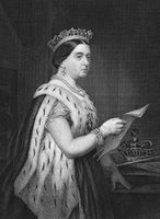 Queen Victoria (1819-1901) on engraving from 1873. Queen of Great Britain and Ireland during 1837-1901. Engraved by unknown artist and published in ''Portrait Gallery of Eminent Men and Women with Biographies''
