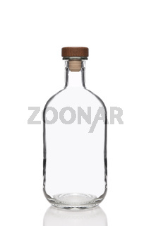Clear Glas -Bottle with cork stopper isolated on white
