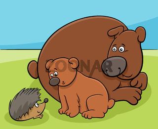 little bear with mom and hedgehog cartoon animal characters