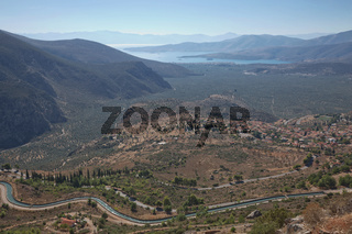 Archaelogical site of Delphi, Greece. Delphi is ancient sanctuary that grew rich as seat of oracle that was consulted on important decisions throughout ancient classical world. UNESCO World heritage