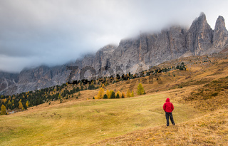 Foggy mountain landscape of the picturesque Dolomites at Passo Sella area in South Tyrol in Italy.