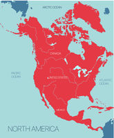 North America continent vector map