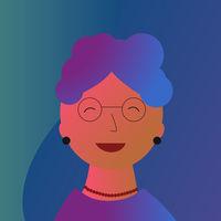 Elderly woman portrait in neon colors. Happy modern retirement