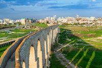 Kamares Aqueduct, Larnaca cityscape, Cyprus