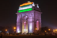 India Gate in national flag colors, night illumination, New Dehli