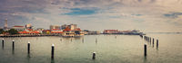 Penang coastline at sunrise time. Panorama