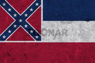 Fahne von Mississippi auf verwittertem Beton - Flag of Mississippi on weathered concrete