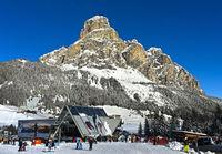 Ski resport Corvara, peak Sassongher behind, Alta Badia, Dolomites, South Tyrol, Italy