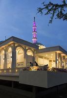 Kuching floating mosque, Masjid Terapung, at the Sarawak River Waterfront at dusk, Kuching, Malaysia