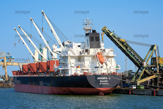 The bulk carrier Amanda C in the port of Swinoujscie on the Polish Baltic coast