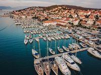 Aerial view, sailing yachts, motor yachts and catamarans, Croatia