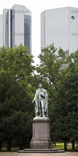 Schiller monument , behind it the twin towers of the Deutsche Bank, Frankfurt, Germany, Europe