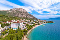 Gradac village on Makarska riviera waterfront aerial view