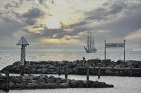 Historical sailor off the island Poel Baltic Sea