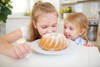 Zwei Kinder kosten von Napfkuchen
