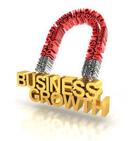 Magnet formed by business words attracting business growth