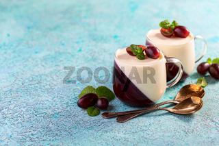Vanilla berry Panna cotta.Traditional Italian dessert.