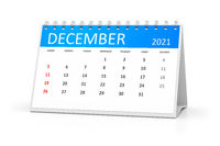 table calendar 2021 december