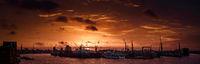 Sunrise over the Hamburg harbour