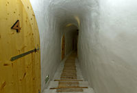 Hallway at the ice hotel, Gstaad Igloo Village,  canton of Bern, Switzerland