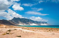 Socotra island coastline with sand dunes of Archer, Yemen