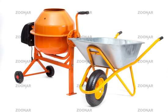 Concrete mixer and cart on an isolated white background.