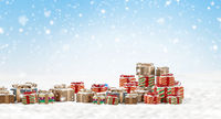 concept of Christmas.design of christmas presents background 3d-illustration