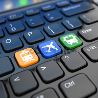 Online booking  tickets to train, bus or airplane. Laptop keyboard,