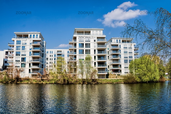 Berlin, Germany - April 9th, 2019 - living on the Landwehr Canal in Berlin-Charlottenburg