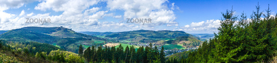 Panorama view on the Sauerland and the Bruchhauser Stones in Germany