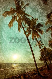 Grunge texture with ocean landscape