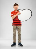 boy holding speech bubble
