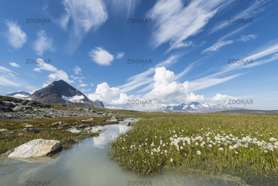 view from Sarek NP to Mt. Akka, Lapland, Sweden