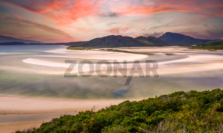 Hill Inlet at Whitsunday Island at sunrise