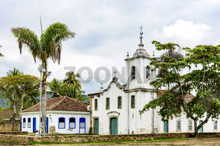 White church in the ancient and historic city of Paraty