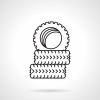 Tires black line vector icon
