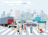 City with road traffic, apartment buildings and pedestrians on the crosswalk,, illustration