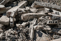 concrete rubble from destroyed building for construcion material recycling