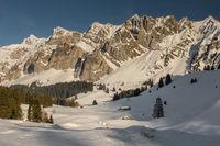Alpstein massif with Saentis in winter, Canton Appenzell Ausserrhoden, Switzerland