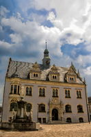 Schönebeck, Germany - June 20, 2020 - town hall and market fountain