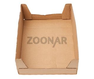 rectangular box made of brown corrugated cardboard